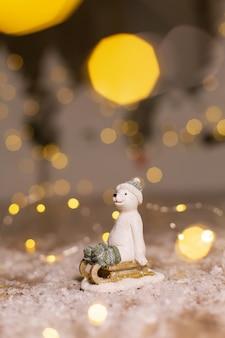 Decorative christmas-themed figurines.