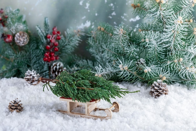 Decorative composition of christmas decorations made of small fir tree on santa claus sleigh.