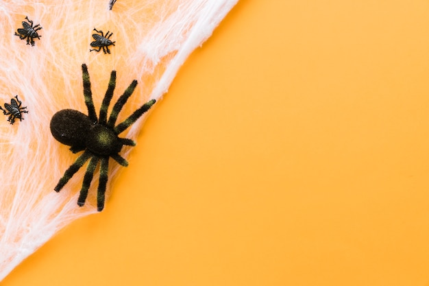 Decorative composition for halloween with spiders