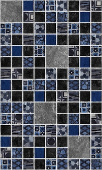 Decorative dark tiles with patterns and texture of natural stone.