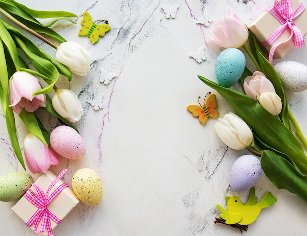 Decorative  easter eggs and tulips bouquet