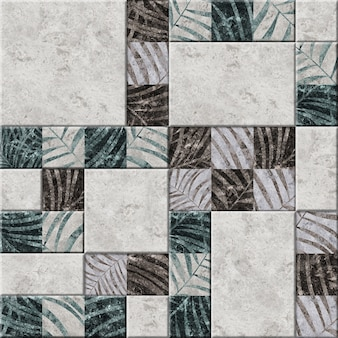 Decorative embossed ceramic tiles with a pattern of tropical leaves.