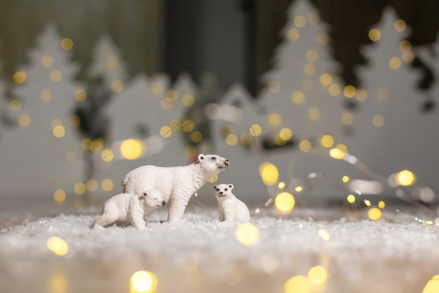 Decorative figurine of a christmas theme, statuettes of a family of polar bears.