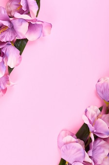 Decorative flowers on pink background composition.