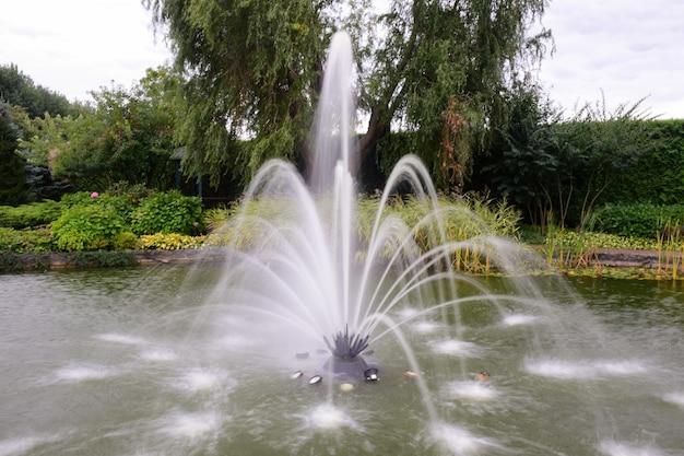 여름 나무 배경에 많은 흐릿한 제트기가 있는 연못에 있는 장식용 분수