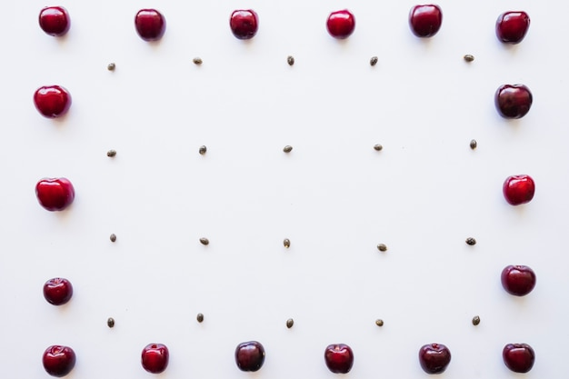 Decorative frame made with cherries