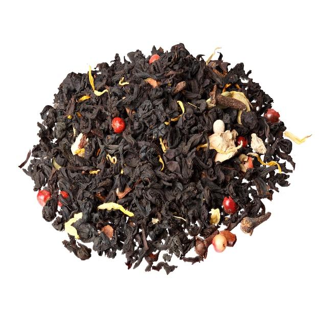 クローブ、カルダモン、シナモン、生姜、紅茶の装飾的なフルフレーム画像。マサラティー。