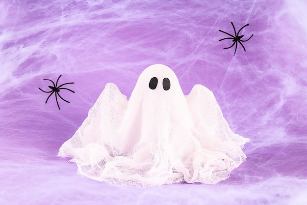 Decorative ghost with fake spiders and spider web