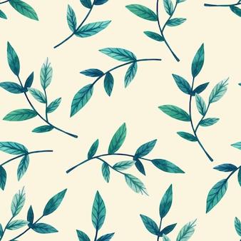 ベージュの壁の枝に装飾的な緑の葉。シームレスパターン。手描きの水彩イラスト。