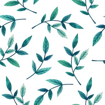 白の枝に装飾的な緑の葉。シームレスパターン。手描きの水彩イラスト。