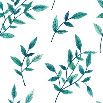 白い壁の枝に装飾的な緑の葉。シームレスパターン。手描きの水彩イラスト。