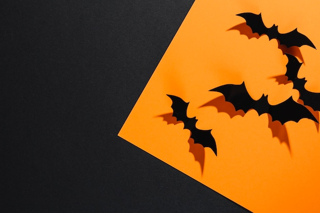 Decorative halloween bats sitting on orange sheet of paper