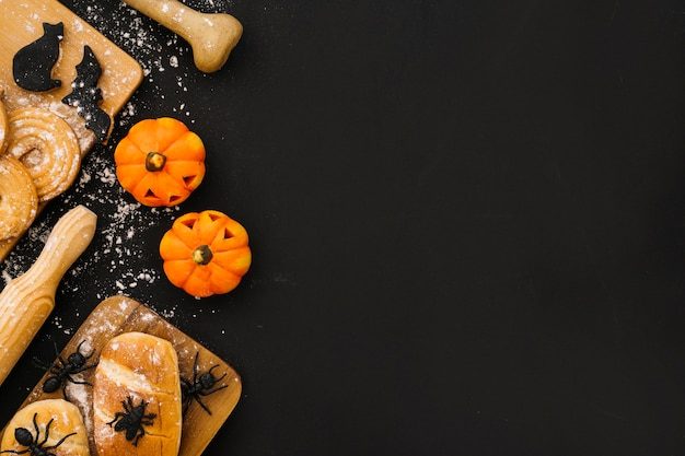Decorative halloween composition with space on right