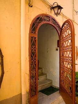 Decorative ironworks on door in rhodes greece