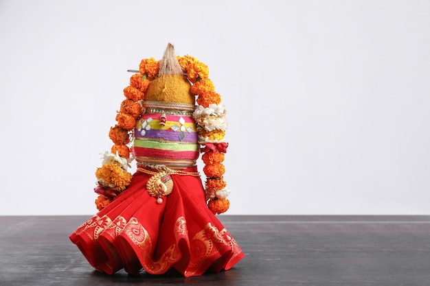 Decorative kalash with coconut with floral decoration