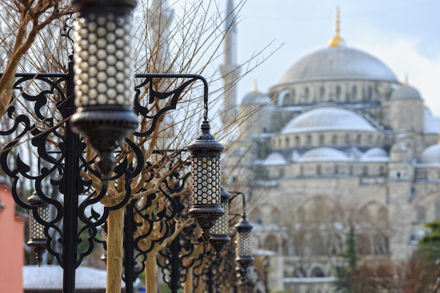 Декоративные светильники на аллее голубой мечети
