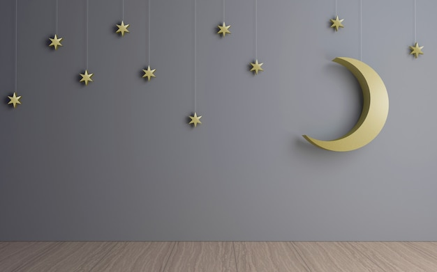Decorative moon and stars in the dark room.