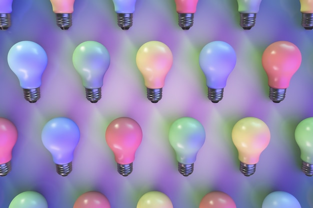 Decorative multi-colored light bulbs on the surface