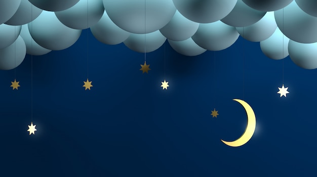 Decorative night clouds stars month.