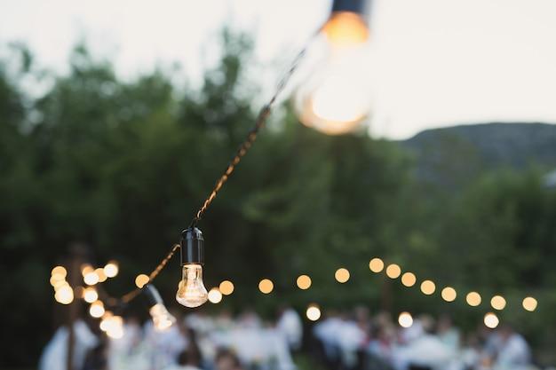 Декоративные уличные фонари висят на дереве в саду ночью