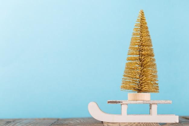 Decorative pine tree on sleigh