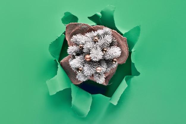 Декоративная пластиковая ёлка в рваной бумажной дыре в зеленой мятной бумаге