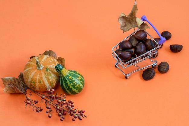Декоративная тыква и каштаны в мини-корзине на апельсине. плоская планировка