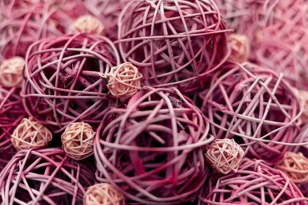 Decorative purple and pink straw balls wall