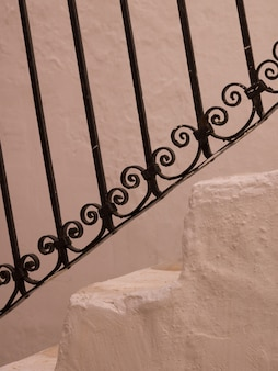 Decorative rail on staircase in mykonos greece