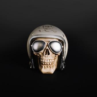 Decorative skull in helmet