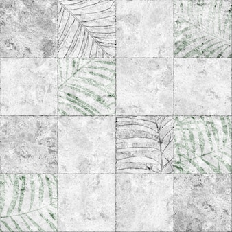 Decorative stone tiles with tropical leaves pattern and natural marble texture. element for design. background texture