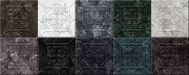 릴리프 패턴으로 장식 돌 벽 타일. 인테리어 디자인 요소. 컬러 대리석 모자이크