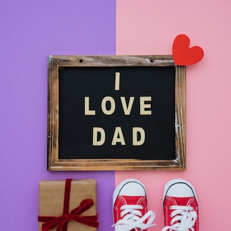 Decorative surface with variety of elements for father's day
