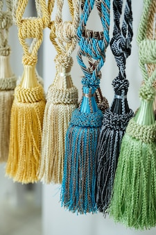 Decorative ties from textiles for curtains curtains