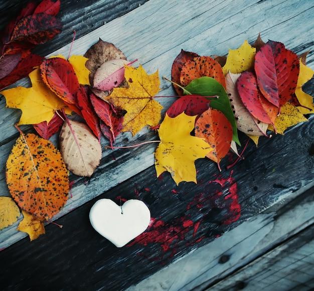 Декоративное белое сердце ручной работы на фоне осенних листьев.