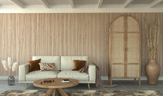 Premium Photo Living Room With Slatted Wood Wall And Wood Furniture 3d Rendering
