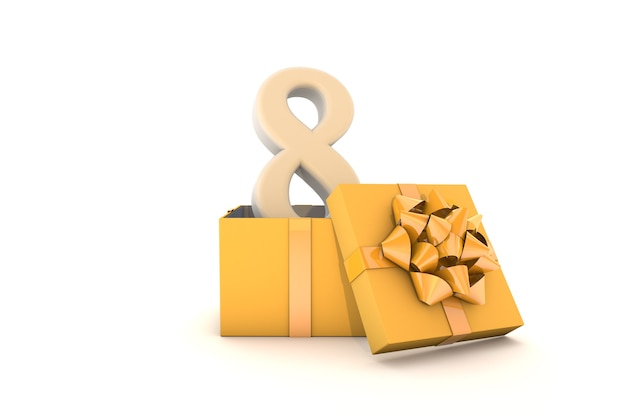 Decorative yellow gift box and gold ribbon