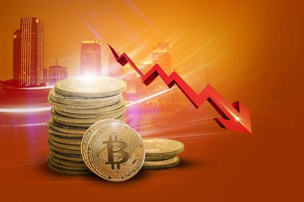 빨간색 화살표가 아래로 표시된 bitcoin bitcoin의 가치 감소