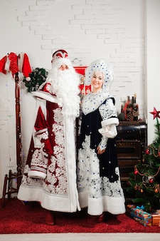 Ded moroz santa and snegurochka snow girl.