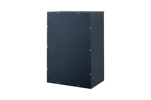 Deep blue or gray mailboxes on the white background isolated. mail box for entrance of apartment house. metal mailbox