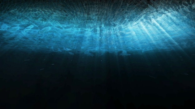 Deep blue underwater with sunlight rays shining through ocean surface. 3d illustration rendering scene