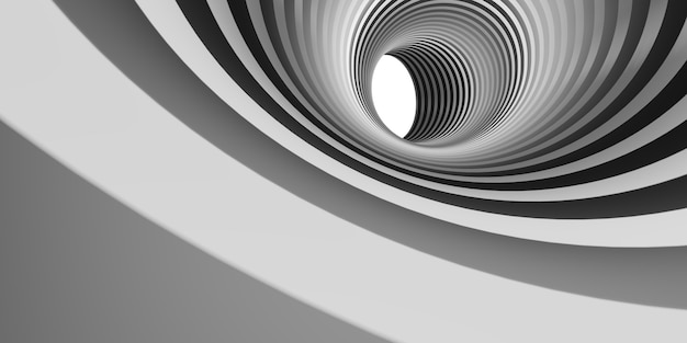 Deep circle in the pipe pipe with a deep vertical bottom perspective of geometric hypnosis flowing down below 3d illustration