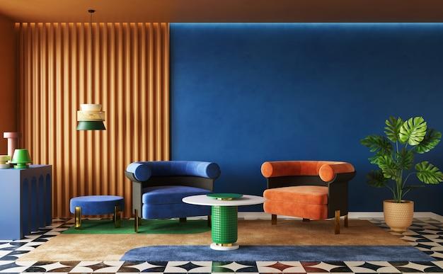 Deep coloured design of living room interior concept of memphis design 3d render