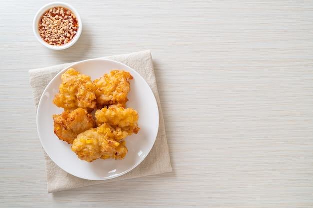 Deep fried corn with sauce - vegan and vegetarian food style