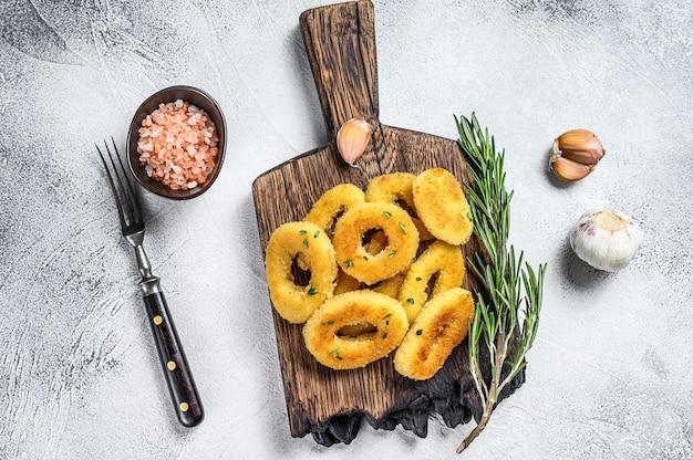 サクサクのイカとオニオンリングの揚げパン粉