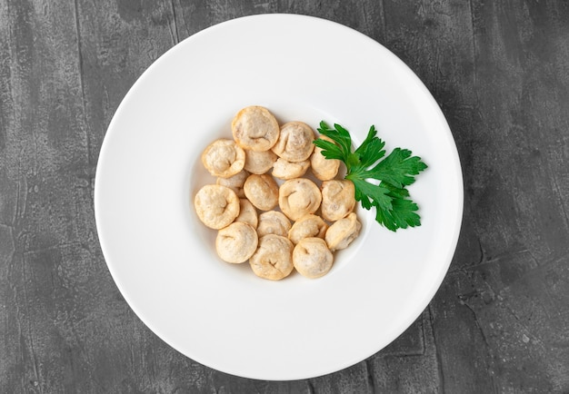 Deep-fried dumplings. in a large white plate. decorated with parsley. view from above. gray concrete background.