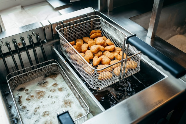Deep fryers and grill, equipment of a fast food restaurant