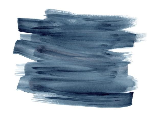 深い藍色と灰色の水彩画の表現力豊かな鮮やかなブラシストロークの背景