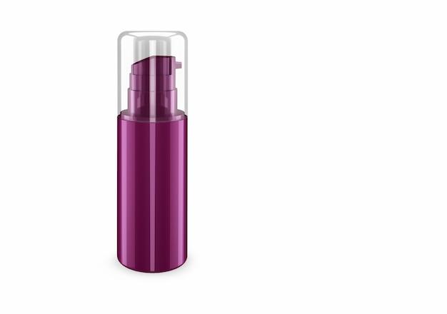 배경에서 분리 된 깊은 라일락 진주층 스프레이 부틀 모형 : 샴푸 플라스틱 부틀 패키지 디자인. 빈 위생, 의료, 신체 또는 얼굴 관리 템플릿. 3d 그림