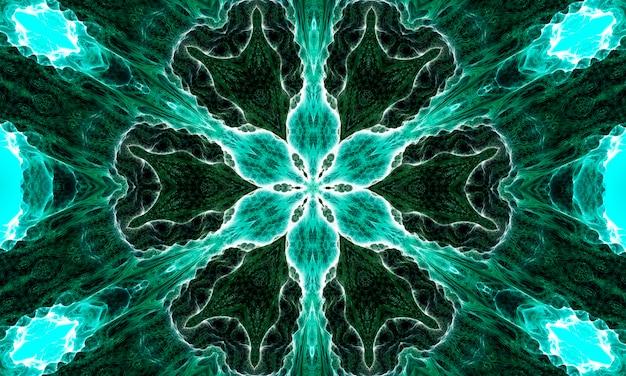 深い腎炎の花。腎炎の色合いの幾何学的要素の抽象的なトレンディな装飾的なシームレスパターン。翡翠の幾何学的形状